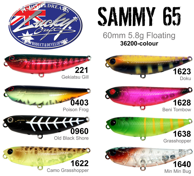 LUCKY CRAFT Sammy 85-123Ghost Lime Chart .